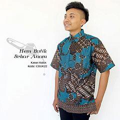 Kemeja Batik Lengan Pendek Motif Sekar Anom Tosca