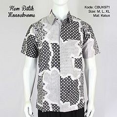Kemeja Batik Pendek Monochrome