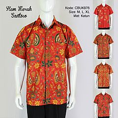Kemeja Batik Pendek Santoso Merah