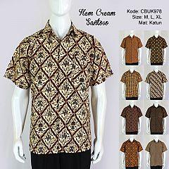 Kemeja Batik Pendek Santoso Klasik Cream Dua
