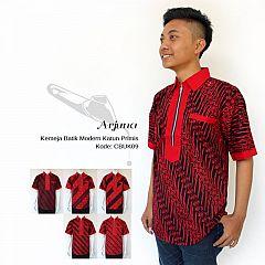 Kemeja Modern Batik Cap Merah Hitam Katun Primis