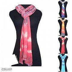 Kerudung Modern Tie Dye Motif Gradasi Pelangi