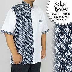 Koko Batik Katun Motif Parang Navy