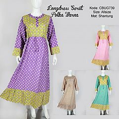 Longdress Serut Polka Warna