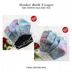 Masker Batik Bening 3 layer Bolak Balik