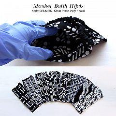 Masker Batik Cap Monochrome Karet Hijab
