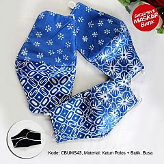 Masker Batik Seling Biru Headloop