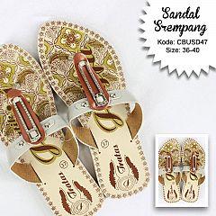 Sandal Srempang Motif Bunga Duo Warna