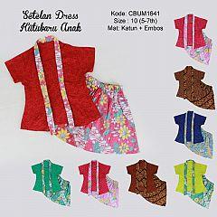 Setelan Dress Kutubaru Pendek Motif Bunga Size 10