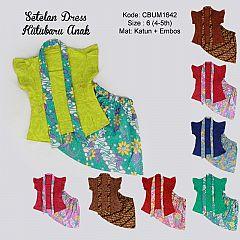 Setelan Dress Kutubaru Pendek Motif Bunga Size 6