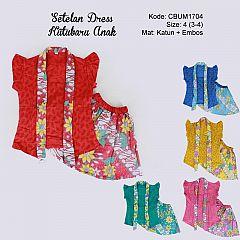 Setelan Dress Kutubaru Pendek Motif Bunga Size 4