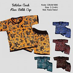 Setelan Kaos Anak Batik Cap Pesisir Size 2