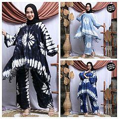 Setelan Shibori Celana Tunik Sayap Rumbai Ring Kombinasi