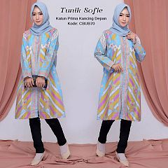 Tunik Batik Biru Cerah Sofie Kancing Depan