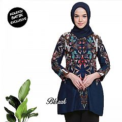 Tunik Batik Blarak Motif AHY 4 Biru