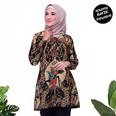 Tunik Batik Blarak Motif Wayang Coklat