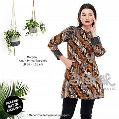 (Free Masker) Tunik Batik Blarak Motif Lereng Kuning