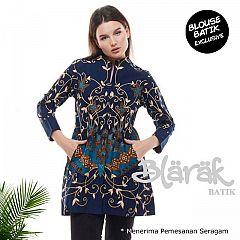 Tunik Batik Blarak Flora Kersa Biru