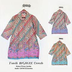 Tunik Bigsize Batik Cerah Kancing Depan
