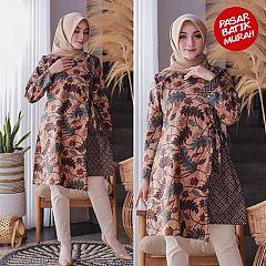 Tunik Raisa Batik Sogan Daun Klasik Hijau