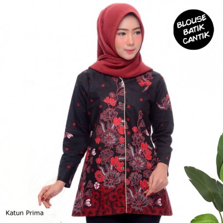 Baju Atasan Kancing Depan Motif Batik Melati Jaya merah