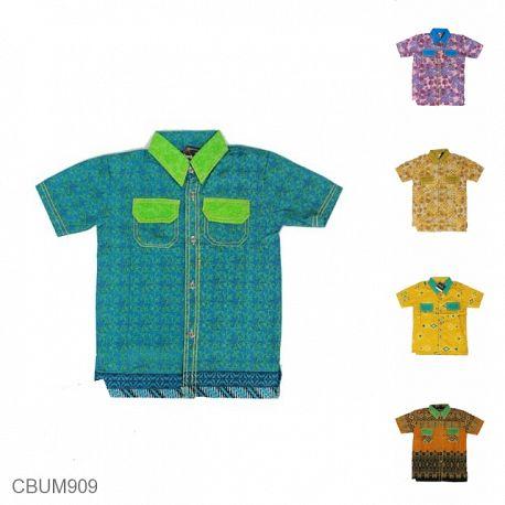 Baju Batik Anak Kemeja Motif Kembangan Tumpal