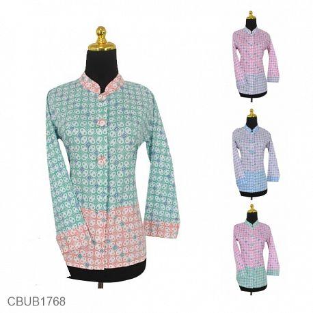 Baju Batik Blus Panjang Motif Kawung Warna Soft