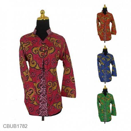 Baju Batik Blus Panjang Motif Abstrak Mega Mendung Warna