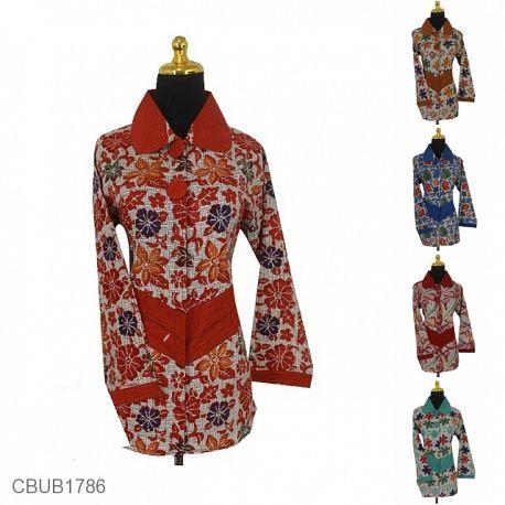 Baju Batik Blus Panjang Katun Motif Dedaunan Warna Anyam Dua