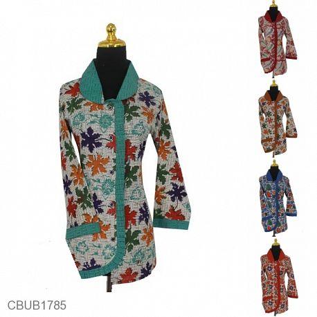 Baju Batik Blus Panjang Katun Motif Dedaunan Warna Anyam