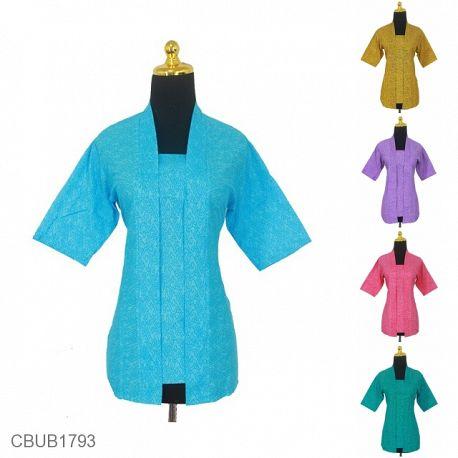 Baju Batik Blus Kutu Baru Motif Abstrak Kembang Adenim