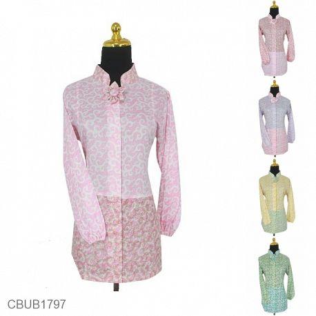 Baju Batik Blus Panjang Motif Rumput Laut Warna Soft