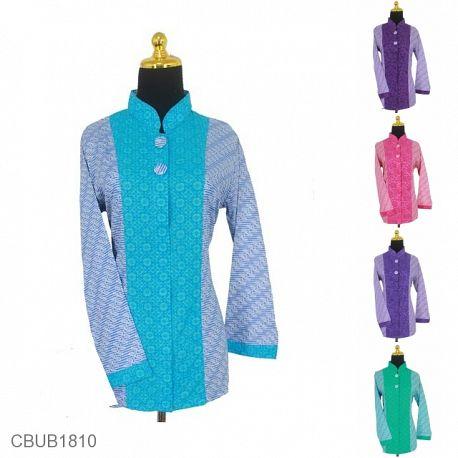 Baju Batik Blus Panjang Katun & Kain Embos Motif Parang Kembar