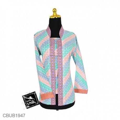 Baju Batik Blus Panjang Motif Kawung Pelangi
