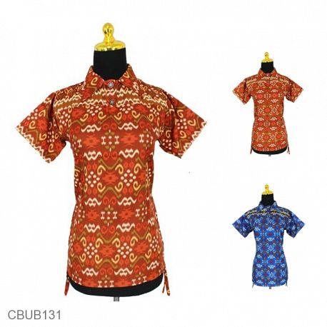 Baju Batik Blus Pendek Sunwash Songket