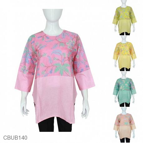 Baju Batik Blus Tanggung Katun Motif Daun