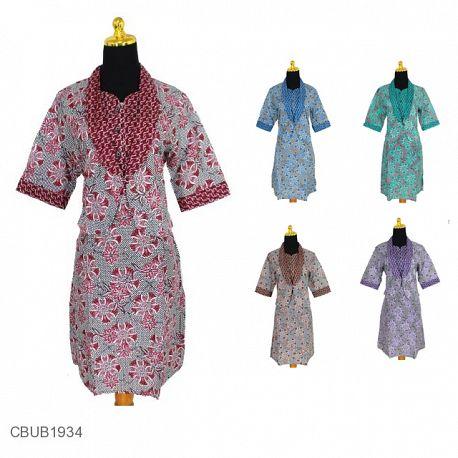 Baju Batik Dress Katun Motif Kembang Alur