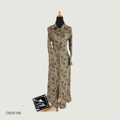 Baju Batik Gamis Jubah Silky Motif Batik Sogan Soft