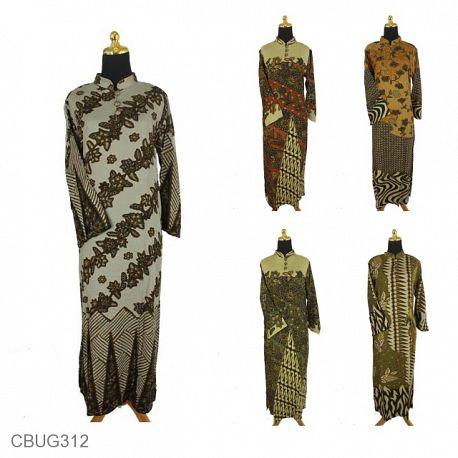 Baju Batik Gamis Shantung Twiil Motif Kotemporer Klasik