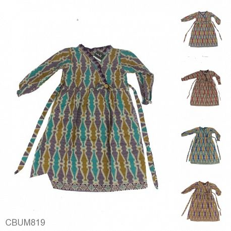 Baju Batik Gamis Anak Motif Botol Tumpuk Garis No 1