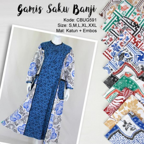 Baju Batik Gamis Saku Motif Banji