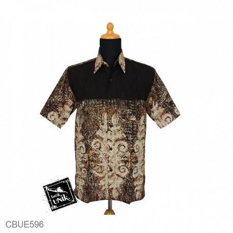 Baju Batik Kemeja Ekslusive Motif Abstrak Warna Cokelat