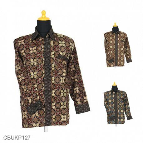 Baju Batik Kemeja Panjang Motif Ceplok Kiwi