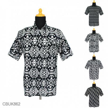 Baju Batik Kemeja Katun Motif Monochrome