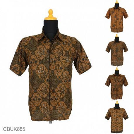 Baju Batik Kemeja Katun Motif Coklat Tumpal