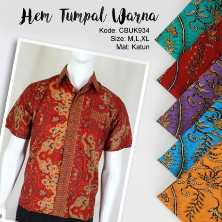 Baju Batik Kemeja Motif Tumpal Warna