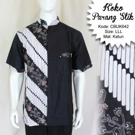 Baju Batik Kemeja Koko Motif Kembang Parang Stik LLL