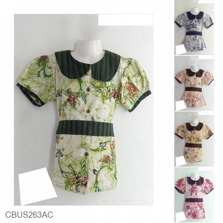 Baju Batik Sarimbit Keluarga Katun Primis Motif Bunga Lurik