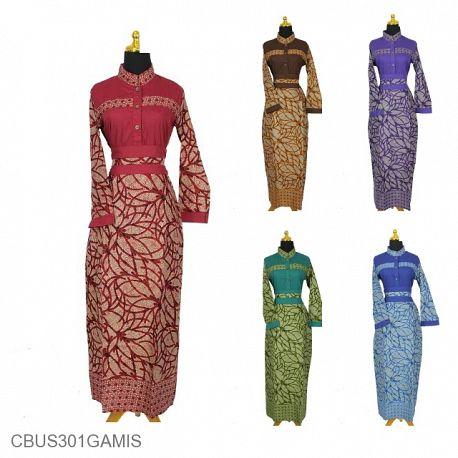 Baju Batik Sarimbit Gamis Motif Godhong Tumpal Melati