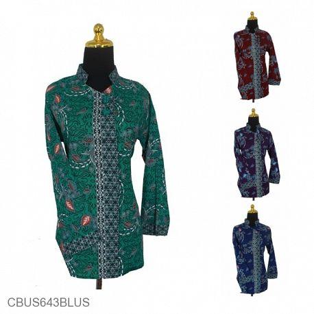 Baju Batik Sarimbit Blus Motif Abstrak Godhong Tetehan